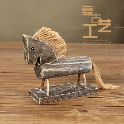 创意木质木马复古木头玩具客厅家居饰品摆件装饰小礼物拍照道具