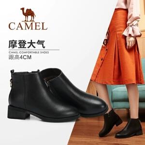 Camel/骆驼2018冬季新款 摩登时尚舒适简约粗跟短筒优雅女靴