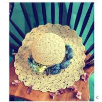 女款 草帽女士夏天韩版 遮阳帽大沿沙滩 帽花朵 镂空太阳帽防晒凉帽花环新