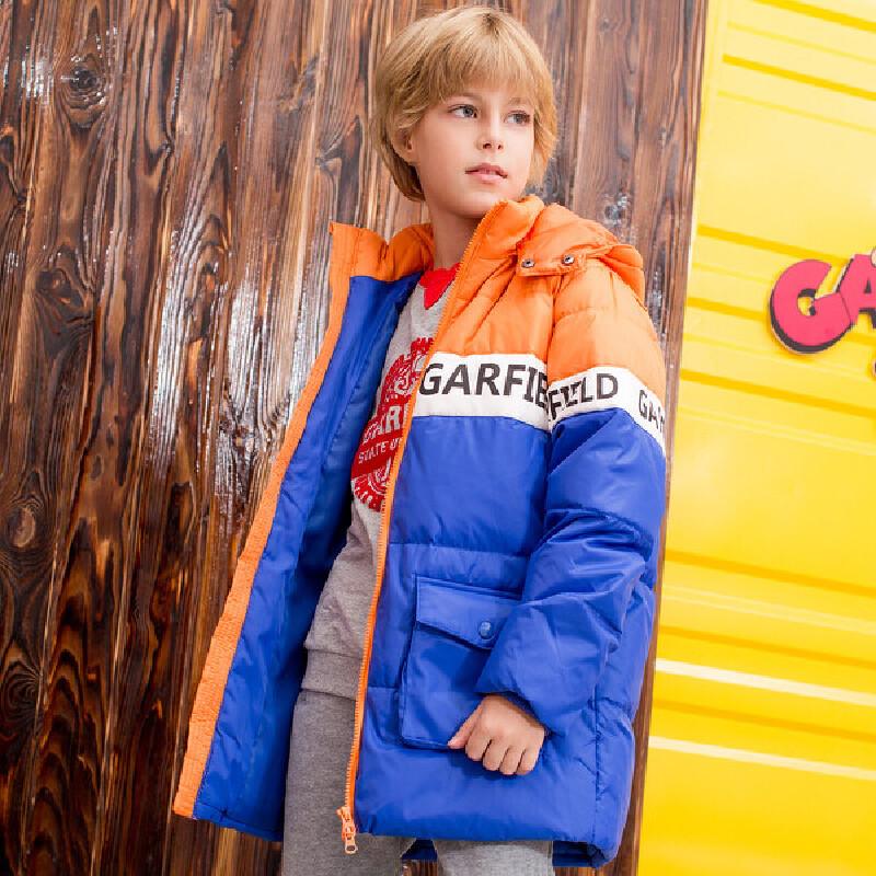 加菲猫男童羽绒服中大童外套中长款GJD17377 拼色