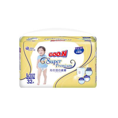 GOO.N大王 短裤式纸尿裤 光羽系列 L32片(9-14kg)婴儿男女通用非拉拉裤尿不湿 透气,不漏尿
