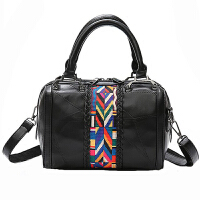 女手提包包女2017新款时尚大气个性大容量真皮女包斜跨羊皮单肩包SN0391 黑色 收藏*品