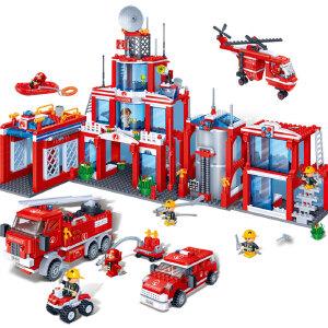 【当当自营】邦宝益智积木儿童小颗粒男孩玩具生日礼物亲子城市新消防总署8355