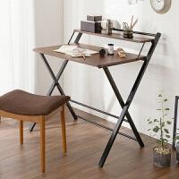 家逸 简易折叠电脑桌 电脑桌钢木结合学习桌 简约办公桌书桌写字台