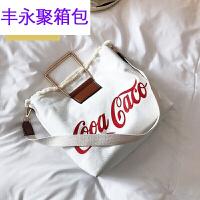 香港潮牌单肩斜挎手包 韩国潮流帆布单肩大包包新款大容学生购物袋手 白色