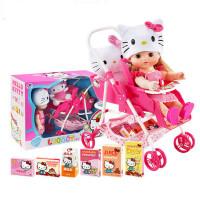 凯蒂猫KT儿童过家家女孩玩具仿真洋娃娃推车组合角色扮演