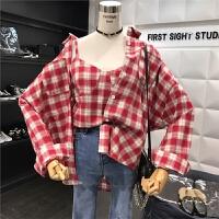 新款韩版复古时尚清新吊带背心长袖外套两件套格子衫