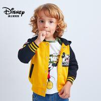 迪士尼宝宝重返学院男童针织连帽棒球外套2018秋款上新