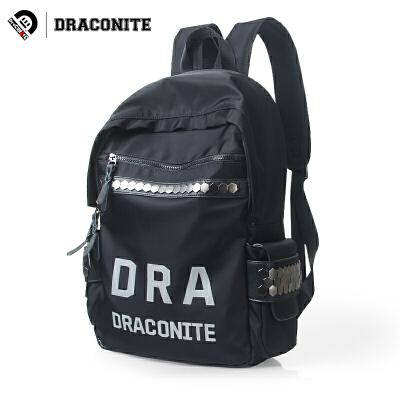 【支持礼品卡支付】DRACONITE韩版黑色书包学院风碎石纹字母反光双肩背包男女潮11693全国包邮