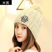 帽子女冬天时尚可爱针织帽冬季加绒加厚韩版百搭甜美可爱学生帽子