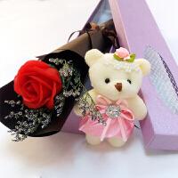 红玫瑰花单支蓝色妖姬仿真肥香皂花1枝3朵花束情人节生日礼盒Q
