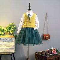 女童春季长袖衣裙女宝宝针织马甲2018新款童装韩版儿童裙子两件套