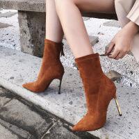 高跟中筒弹力靴袜靴女秋冬18新款马丁靴尖头细跟性感短靴女靴