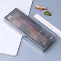 晨光HAGP0777 本味系列套装 学生笔盒 中性笔 自动铅笔 荧光笔 笔芯组合 磨砂黑