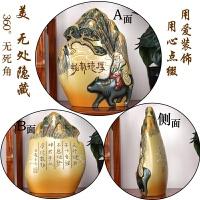 中式书柜古董博古架摆件客厅创意酒柜装饰品家庭摆设个性小工艺品 浅黄色 浮雕山形手工雕刻