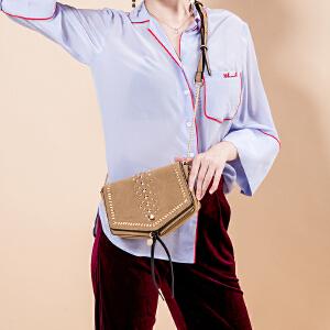 toutou2017秋冬韩版新款时尚铆钉马鞍包单肩斜挎链条包磨砂女包潮