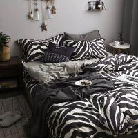 君别ins北欧风条纹四件套被套床单1.8床笠网红床上用品三件套