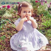 迷你巴拉巴拉女童连衣裙2021夏装娃娃领泡泡袖学院风洋气可爱裙子