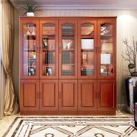 实木书柜组合三门二门全香樟木书柜带门书橱书架带玻璃门现代中式