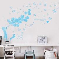 可爱女孩爱心气球墙贴纸贴画儿童房卧室温馨装饰品墙纸自粘可移除