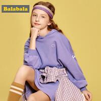巴拉巴拉童装女童连衣裙儿童裙子2019新款秋装连帽长袖时尚公主裙