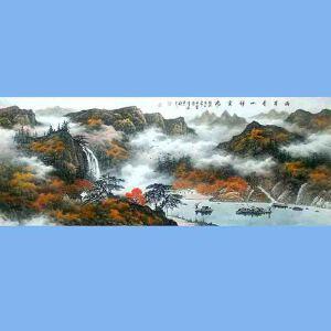 中国美术协会会员,广西省美术家协会理事,国家一级美术师蒋清(两岸青山祥云飞)