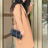 显瘦韩版毛呢外套反季秋冬双面羊绒呢子大衣女中长款宽松羊毛外套