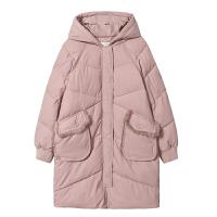 【3折到手价:198元】爱客粉色茧型棉衣女连帽中长款2018冬季韩版宽松甜美加厚外套