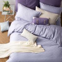 LOVO家纺 全棉纯棉提花四件套 简约素色床单被套 色彩生活
