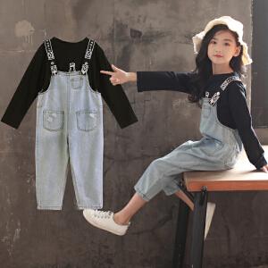 童装2018秋季新款女童啤酒牛仔背带裤套装儿童T恤+背带裤两件套