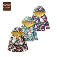【400-200】binpaw冬装男童棉衣外套 2017新款满印连帽羽绒棉服 加厚儿童棉袄