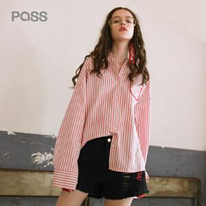 PASS2018春装新款衬衫女长袖中长款宽松韩版竖条纹小清新上衣学生