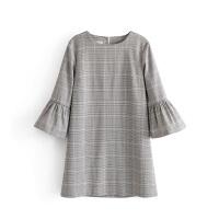 女装春款欧美风喇叭袖格纹套头连衣裙气质格子短裙