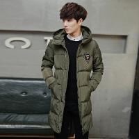 冬装男士棉衣韩版修身长款加厚棉服纯色时尚男款棉袄青年冬天外套潮