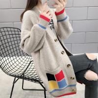 2020新款女时尚早秋毛衣外套春秋宽松中长款很仙的洋气针织开衫