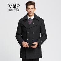 花花公子贵宾时尚简约保暖羊毛大衣