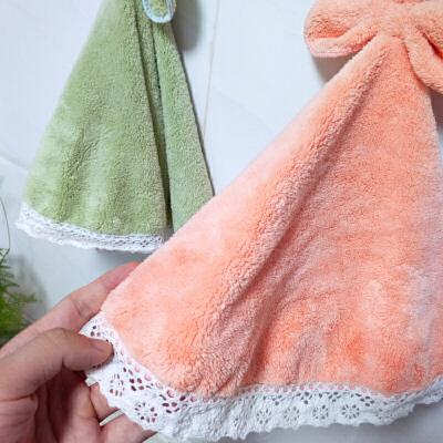 LOVO HOME 甜心萝莉挂巾毛巾儿童擦手巾(两条装)