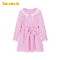 巴拉巴拉儿童连衣裙女童公主裙春装2020新款大童条纹纯棉裙子甜美