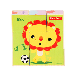 【当当自营】【当当自营】FisherPrice费雪木制动物九粒六面画积木 婴幼儿宝宝益智玩具FP1018