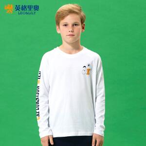 男童圆领卡通T恤白色纯棉休闲童装2017秋装新款长袖青少年打底衫