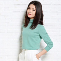 春季新款女士高领纯山羊绒衫修身短款长袖针织打底套头毛衣薄