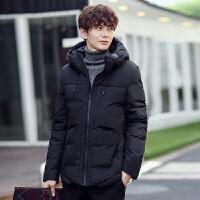 冬季新款男装羽绒服时尚休闲加厚短款上衣韩版修身保暖纯色连帽外套