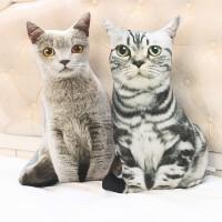 创意仿真猫咪抱枕猫3d毛绒玩具女生搞怪玩偶娃娃