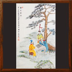 工笔人物画《乐在其中》世界名人文化村村长,中华两岸书画家协会主席
