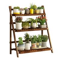 碳化防腐折叠花架实木阳台多肉木质花架子多层室内花盆地面置物架
