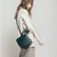 包包女2018秋冬新款韩版设计师款不规则方形手提包双拉链单肩包潮 绿色 少量现货