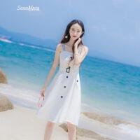 2018夏季新款女装修身显瘦露肩吊带腰带ins超火连衣裙中长款裙子 白色