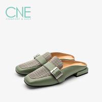 CNE秋冬新款日系时尚舒适包头低跟穆勒鞋女凉拖鞋 9T12301