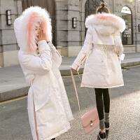 大毛领棉衣女中长款冬装女2018新款韩版修身加厚外套羽绒女潮