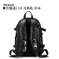 时尚潮流真皮双肩包男士2018新款韩版个性英伦休闲旅行背包大容量